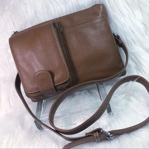 Tignanello Pebbled Leather Crossbody Bag Brown